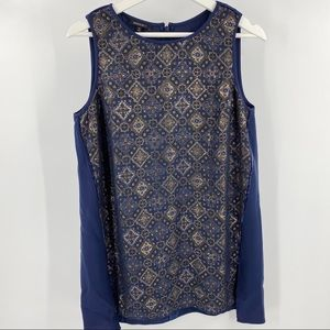 Lafayette 148 blue and gold tank top velvet detail